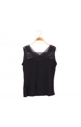 闕蘭絹兩面穿蕾絲拼接100%蠶絲背心 - 黑 - 9924