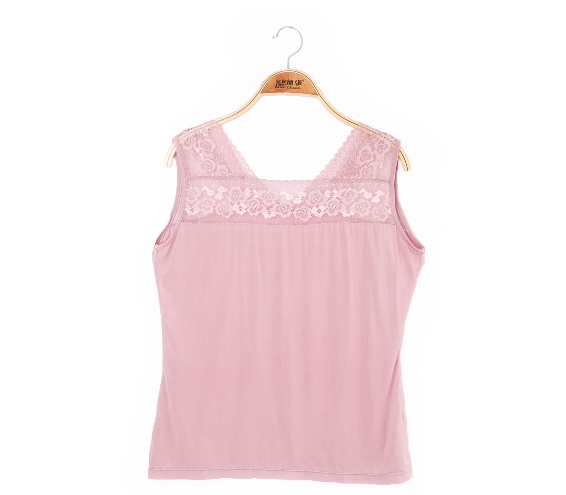 闕蘭絹兩面穿蕾絲拼接100%蠶絲背心 - 粉 - 9924