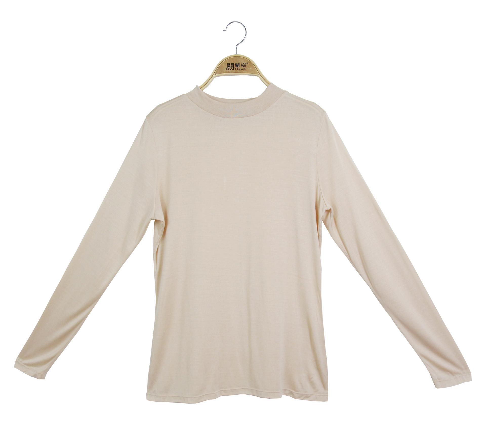 闕蘭絹素面長袖100%蠶絲立領衛生衣-膚色-9925