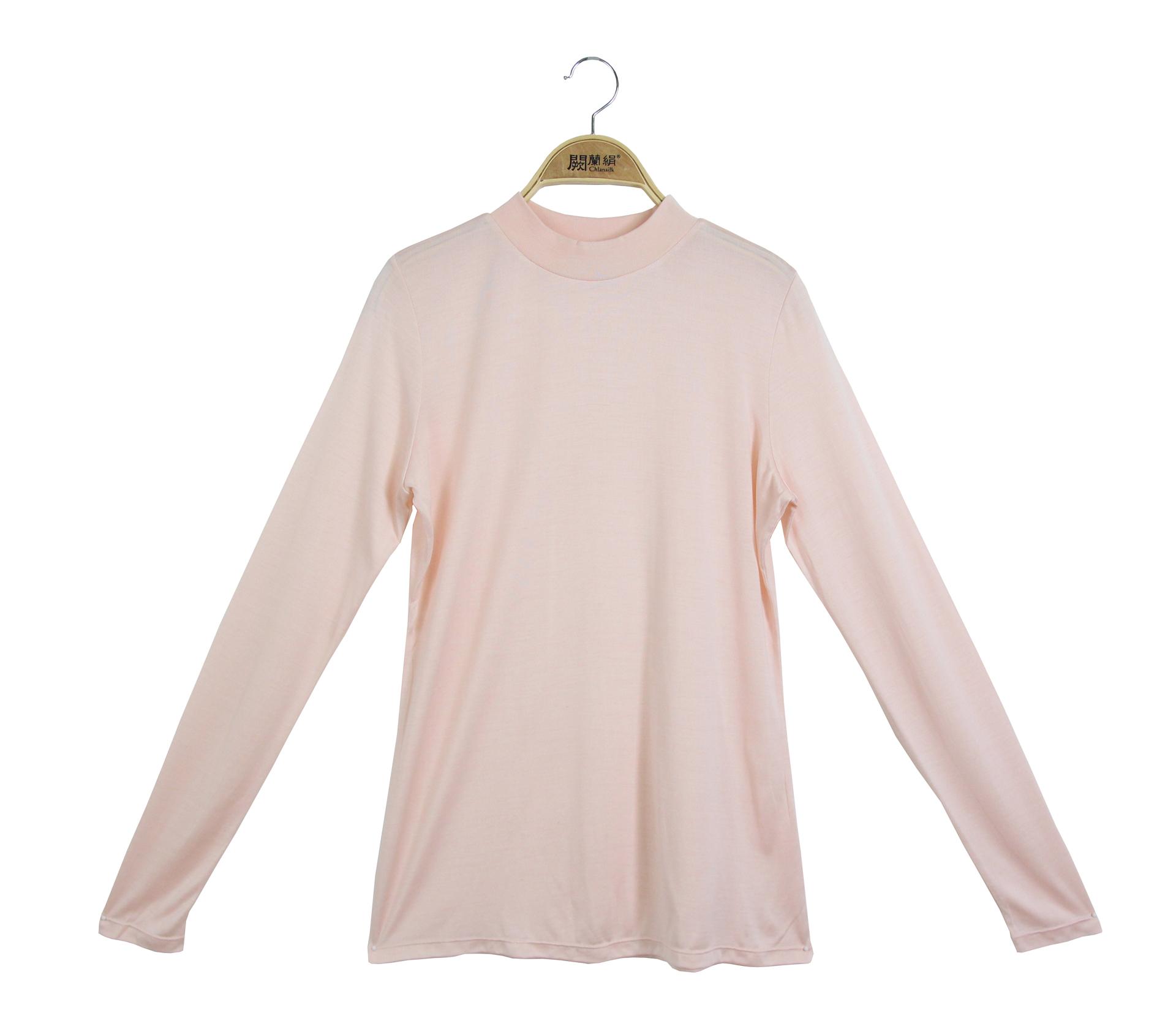 闕蘭絹素面長袖100%蠶絲立領衛生衣-粉色-9925
