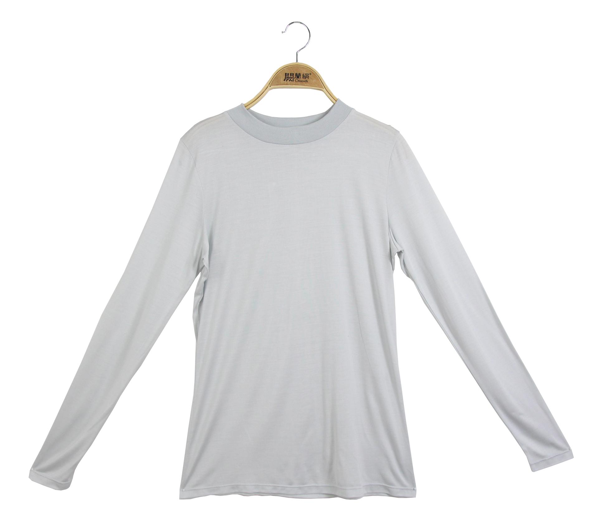 闕蘭絹素面長袖100%蠶絲立領衛生衣-灰色-9925