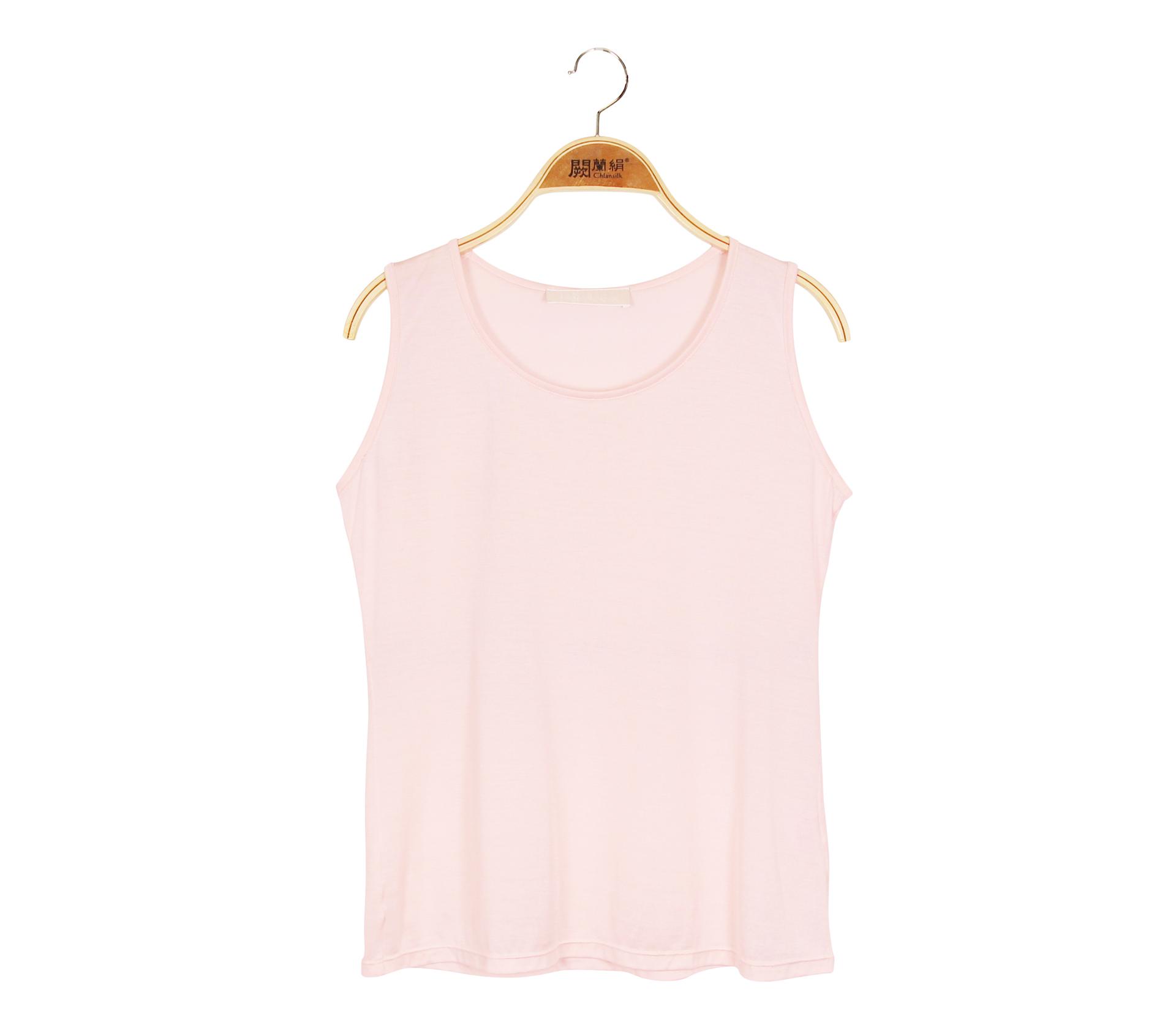 闕蘭絹素面圓領絹絲背心 - 粉色 - 9927