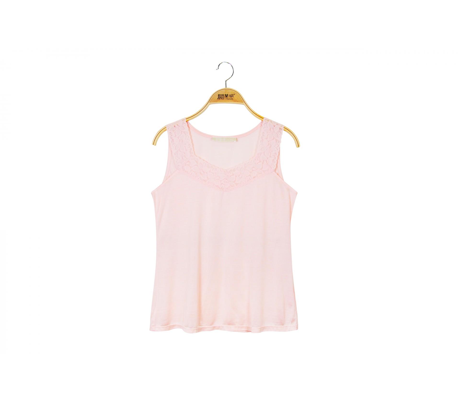 闕蘭絹素面V領蕾絲絹絲背心 - 粉色 - 9928