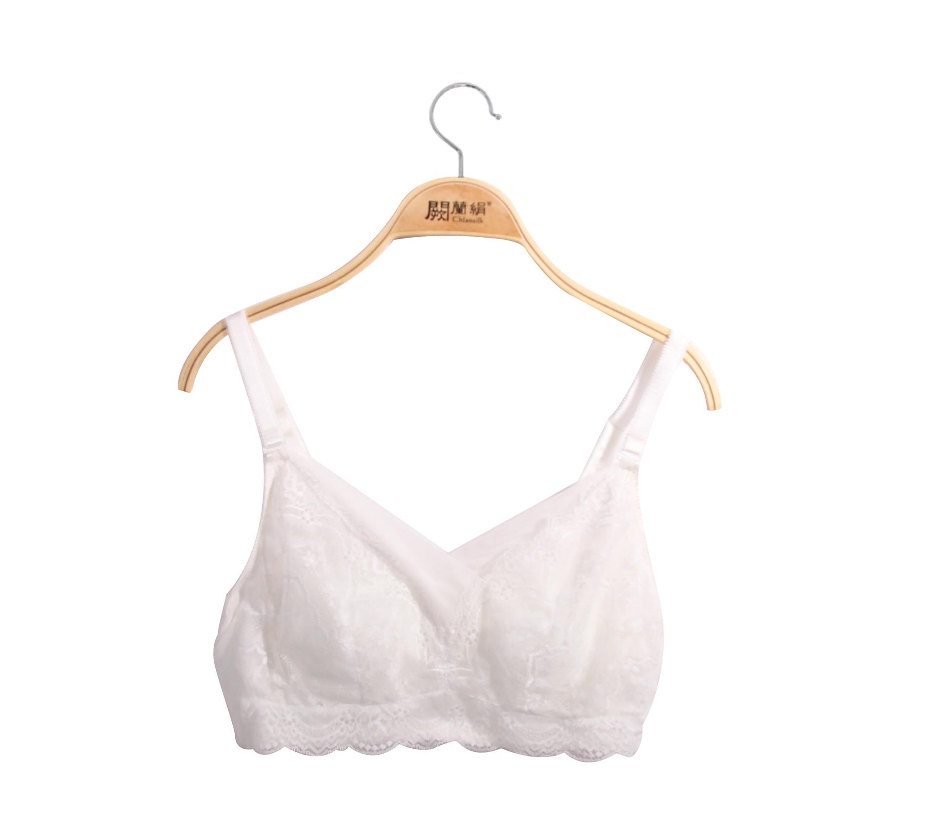 闕蘭絹優雅女伶白色蠶絲內衣-BR01