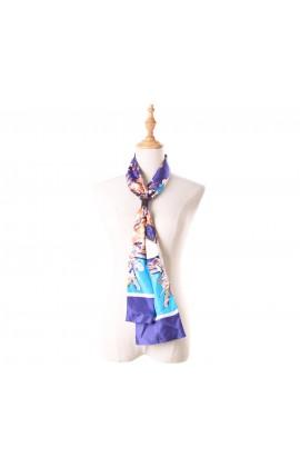 藍色印花100%蠶絲領巾- S03-5