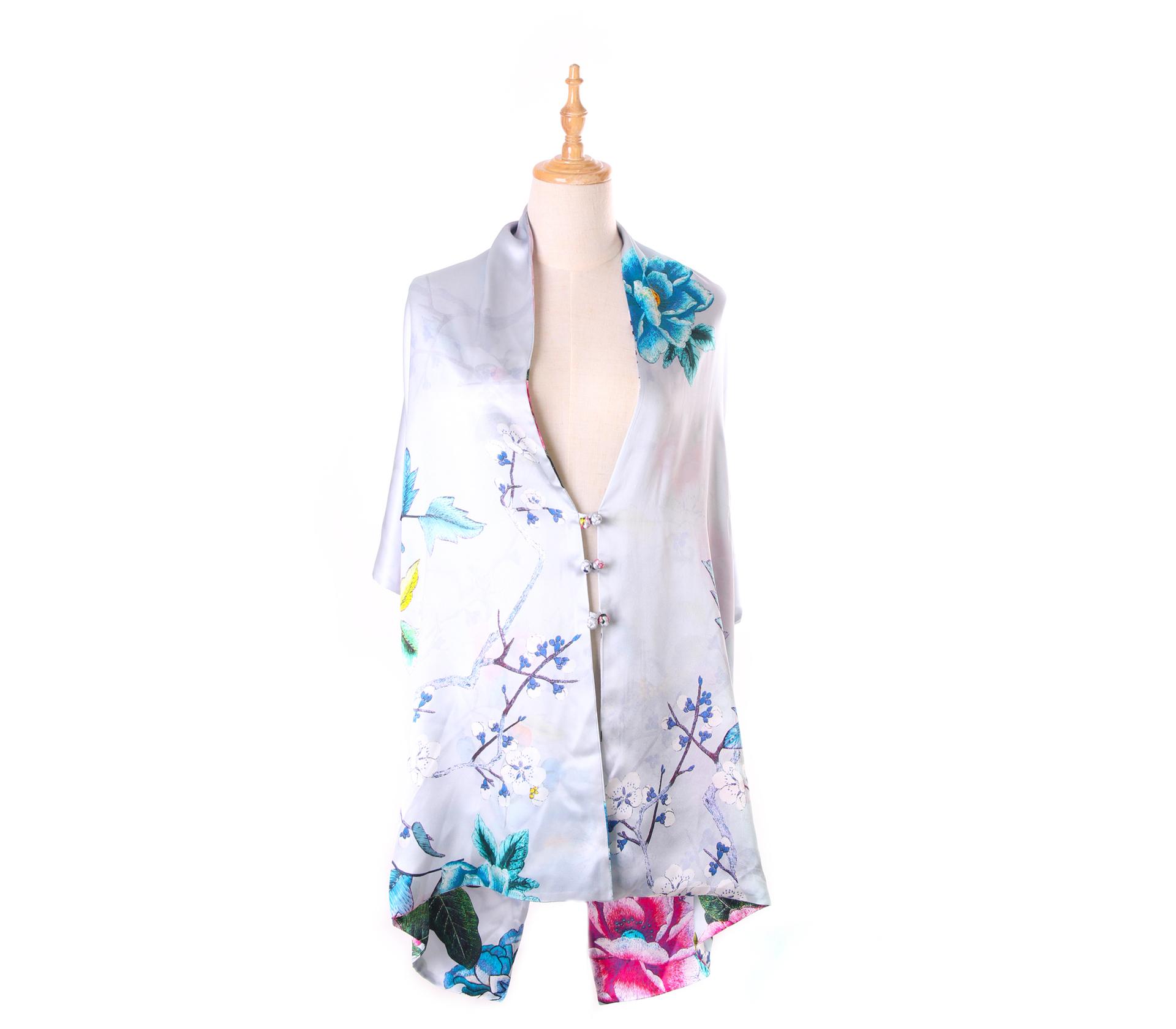璀璨花朵灰色100%蠶絲披肩(55*180) - S1024