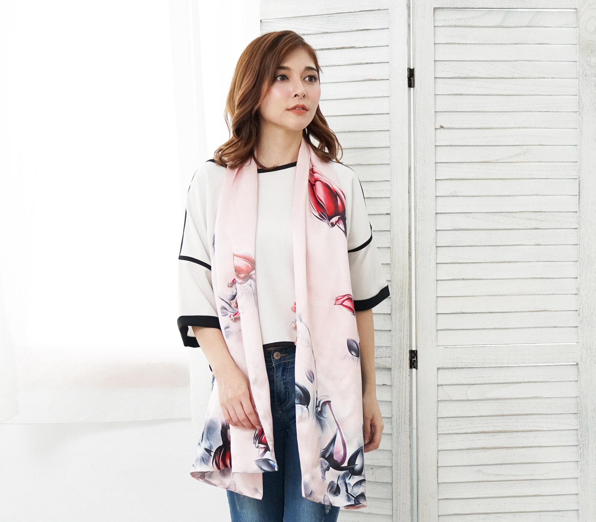 鬱金香粉色100%蠶絲披肩(55*180) - S1027