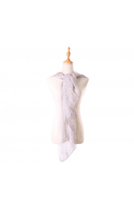 灰色印花100%蠶絲絲巾- S1160