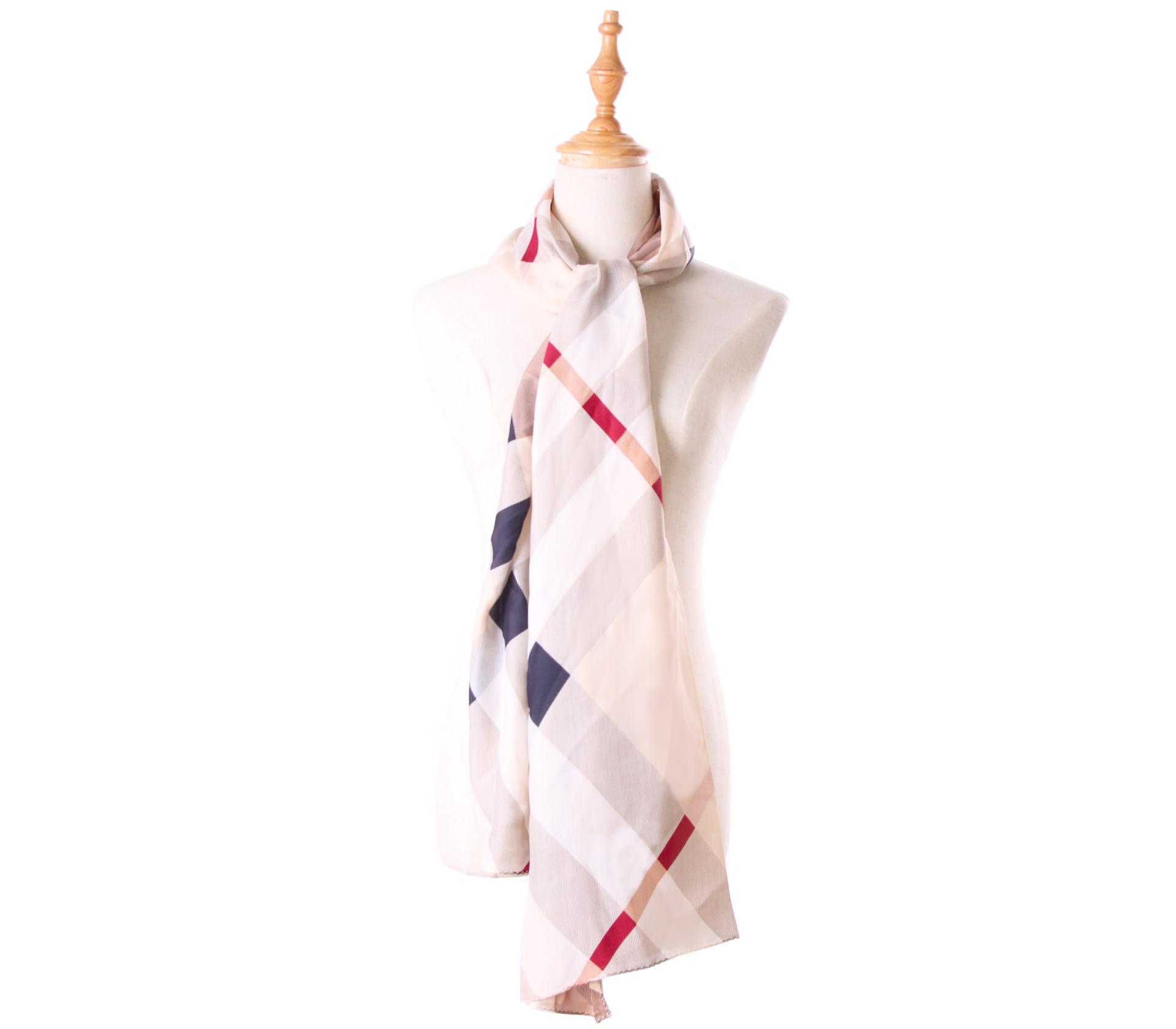 棕色斜格紋100%蠶絲絲巾- S1245