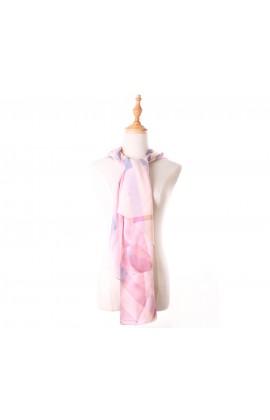 粉色斜格紋100%蠶絲絲巾- S1246