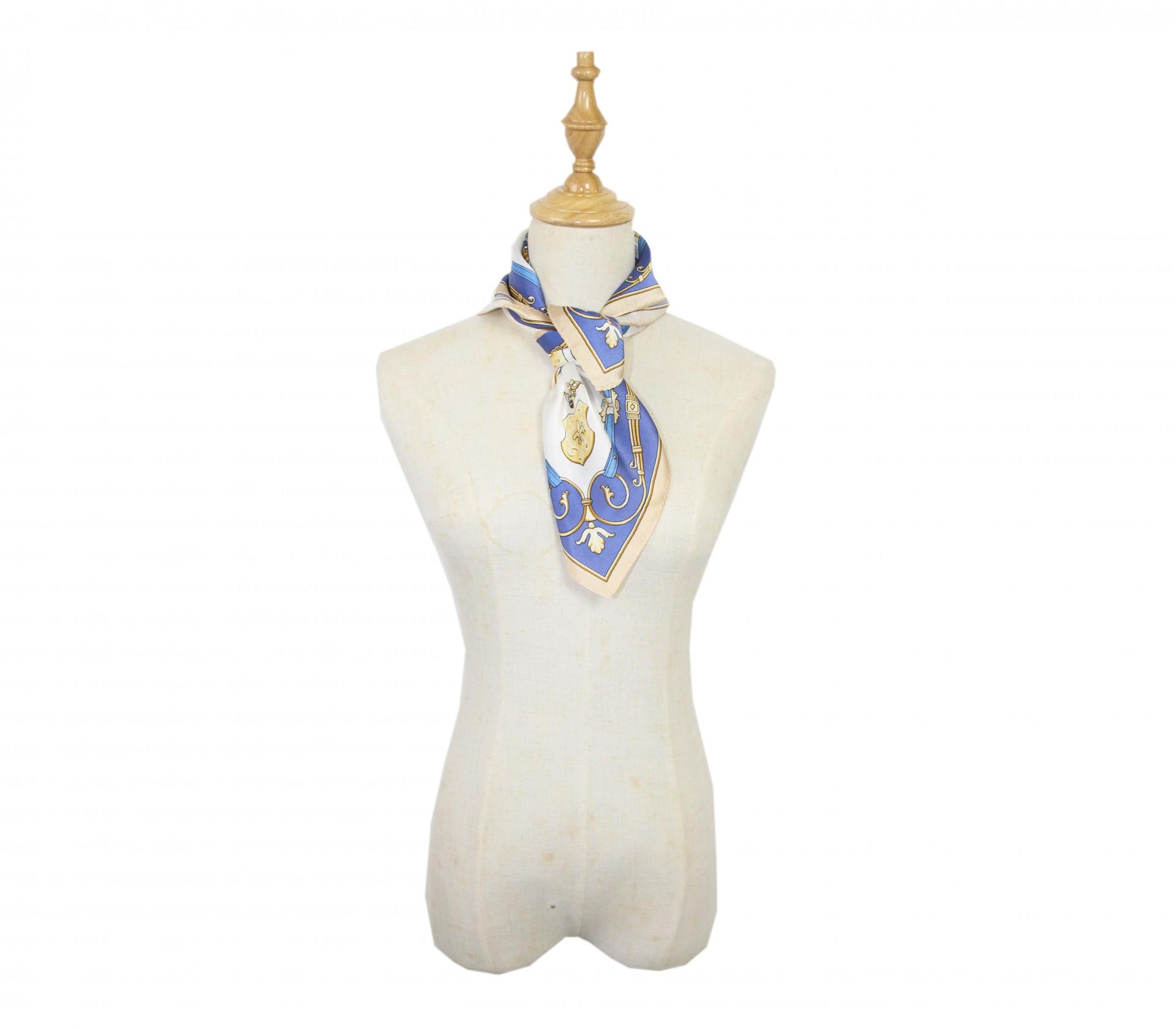 闕蘭絹宮廷馬車100%蠶絲方巾(53*53)- 藍色 - S24-5