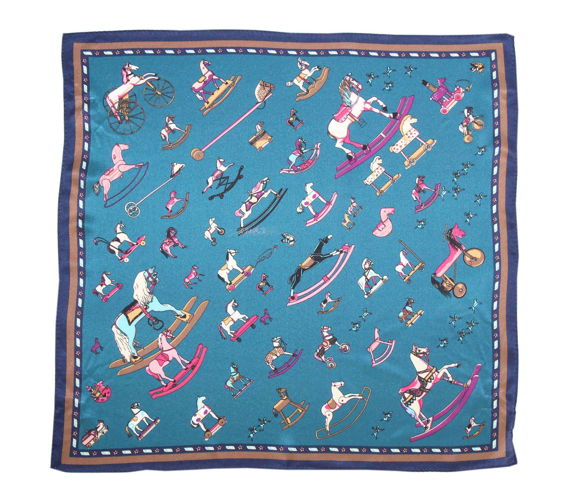 闕蘭絹復古小馬100%蠶絲方巾(53*53) - S24-7