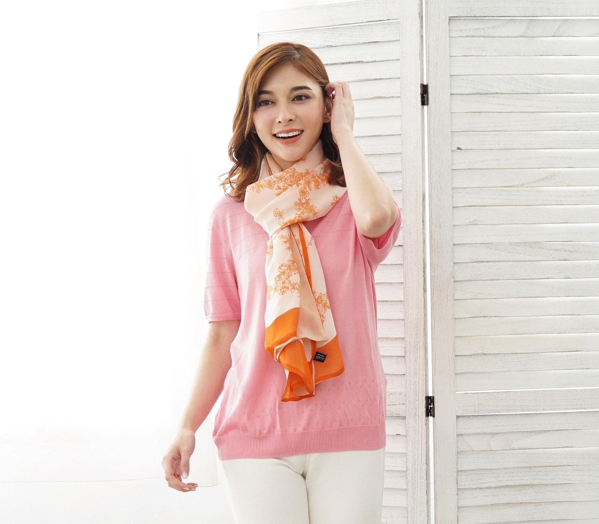 橘色花朵100%蠶絲絲巾- SP20-3