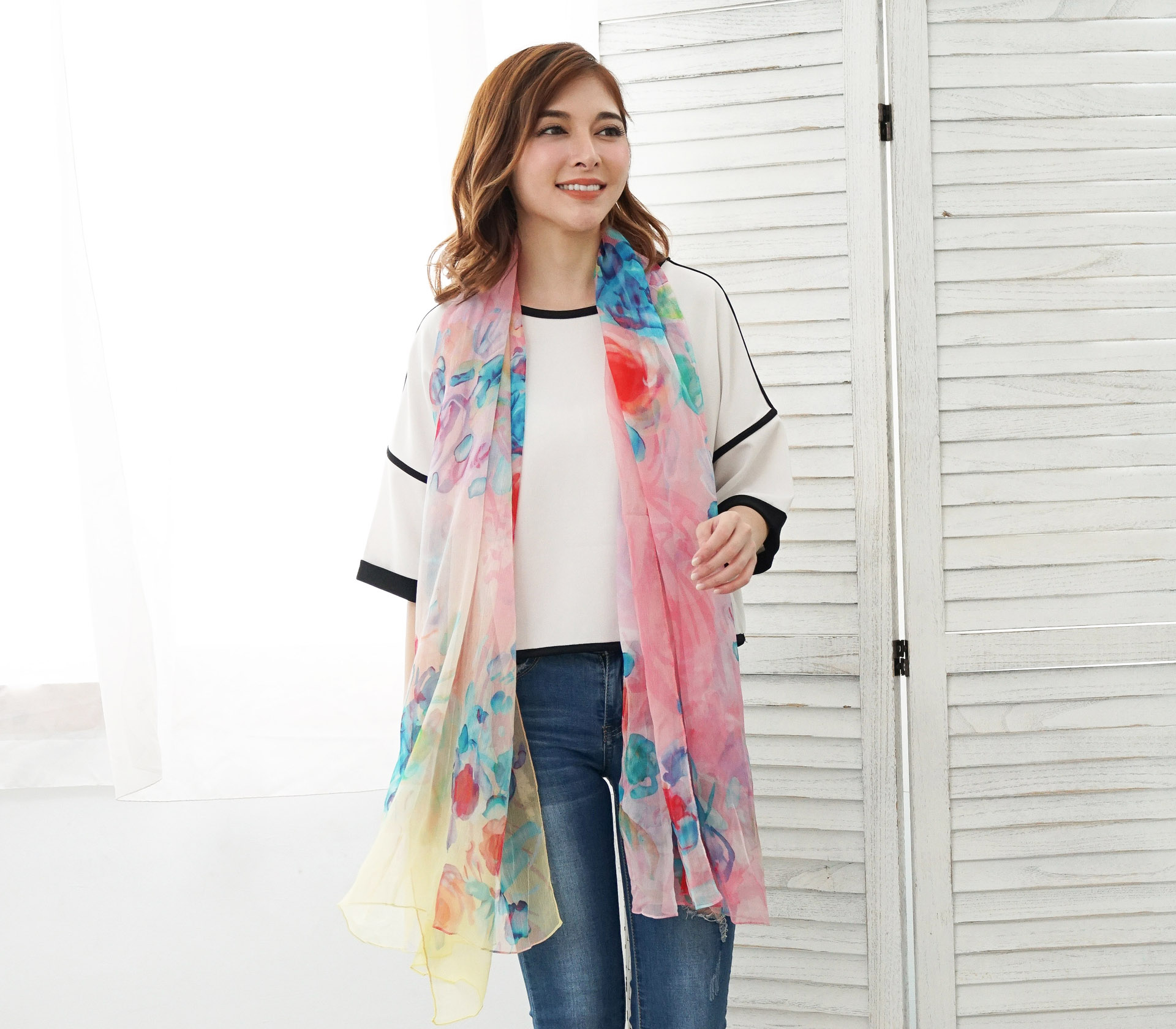 彩色暈染花朵100%蠶絲絲巾- SP2851-1