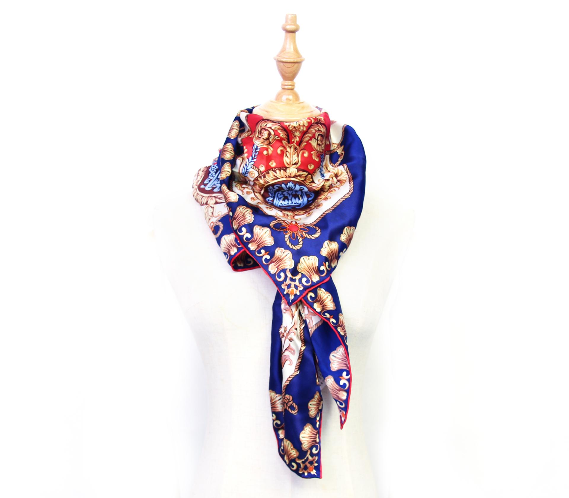 經典圖騰100%蠶絲大方巾-WJ301